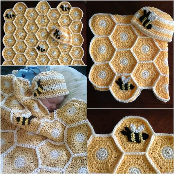 DIY Handmade Sweet As Honey Crochet Baby Blanket and Hat Set | iCreativeIdeas.com Like Us on Facebook ==> https://www.facebook.com/icreativeideas