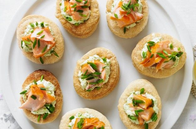 Smoked salmon and pea vol au vents
