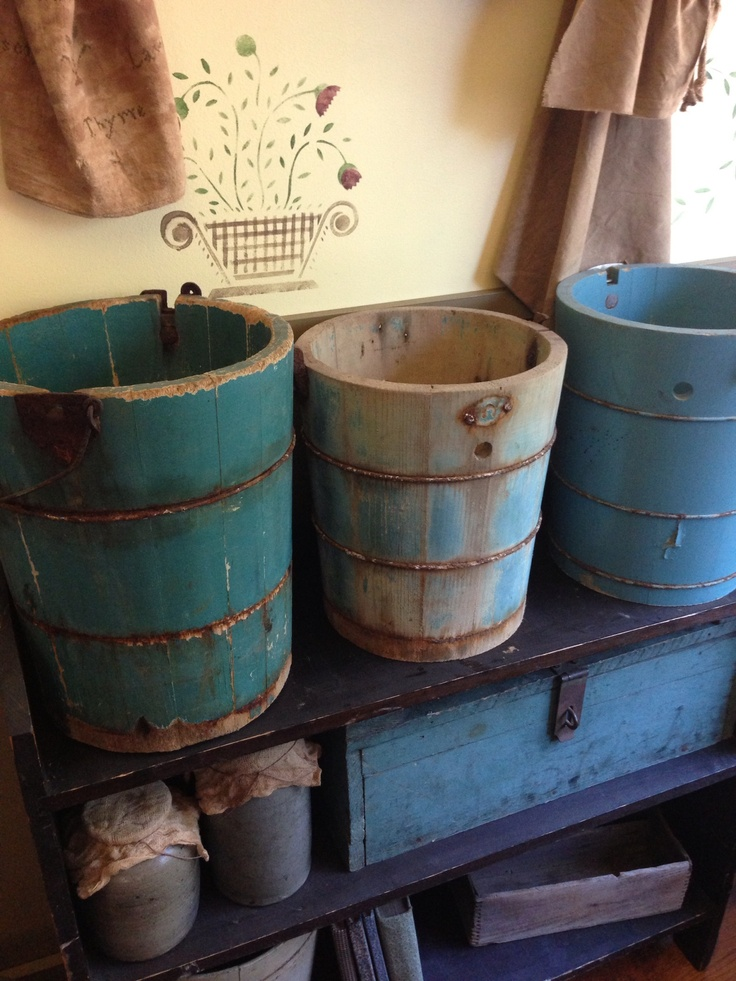 Primitive teal or turquoise buckets