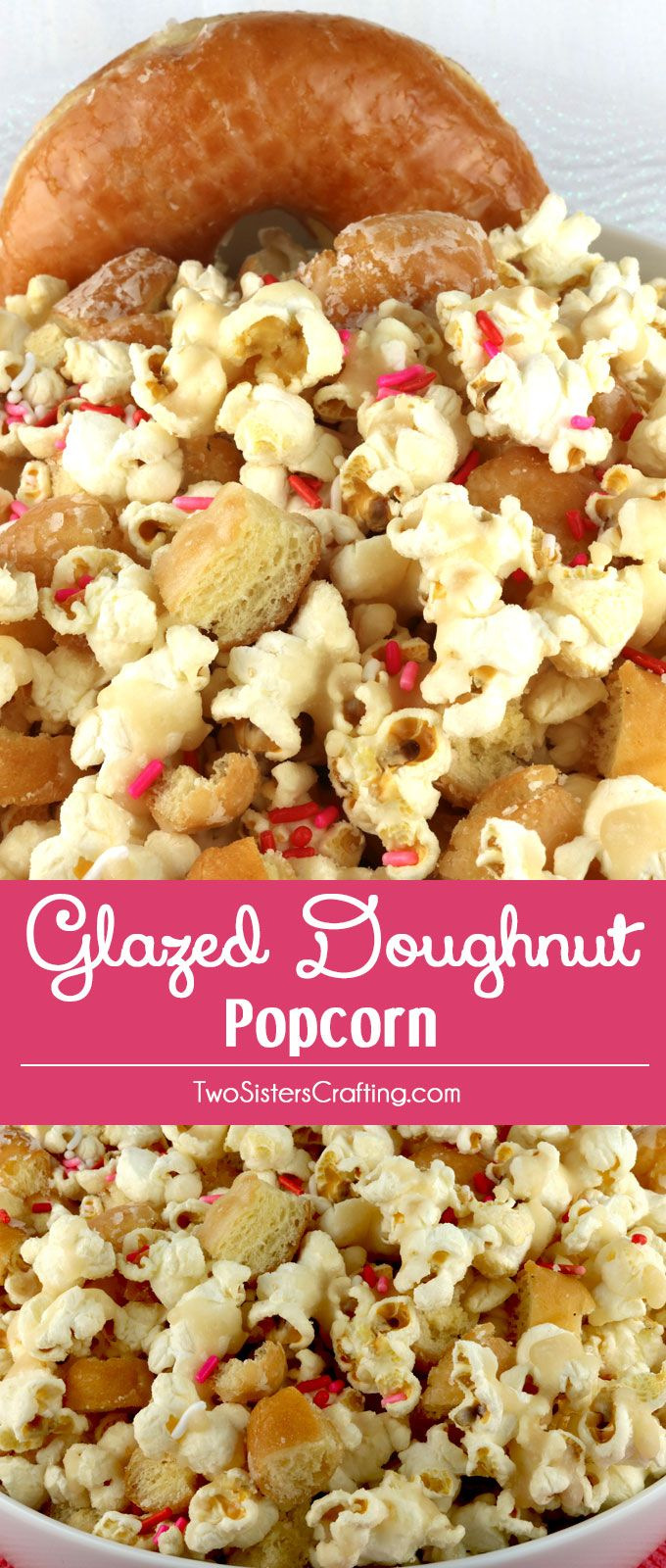 Glazed Doughnut Popcorn - salty popcorn covered in delicious homemade doughnut glaze and tossed with yummy pieces of Glazed Doughnut. Delicious! This is an easy to make dessert that is sure to please the donut lovers in your life. Pin this Popcorn Treat for later and follow us for more fun Popcorn Recipe Ideas.