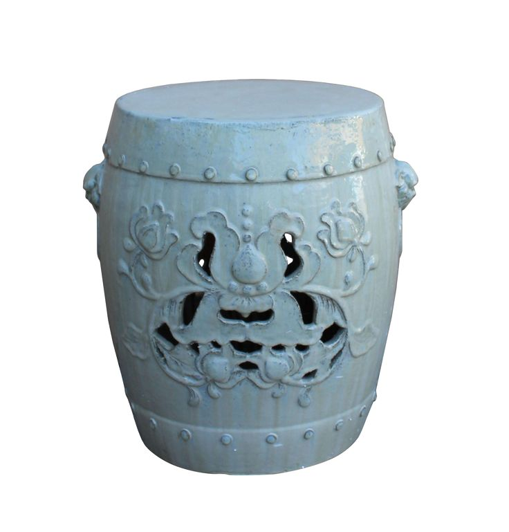 Chinese Off White Round Lotus Clay Ceramic Garden Stool Table on Chairish.com