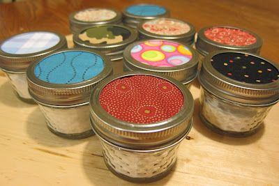 Love it!  Room freshener -- baking soda and essential oils in 4 ounce canning jars --paper or cloth lid insert.