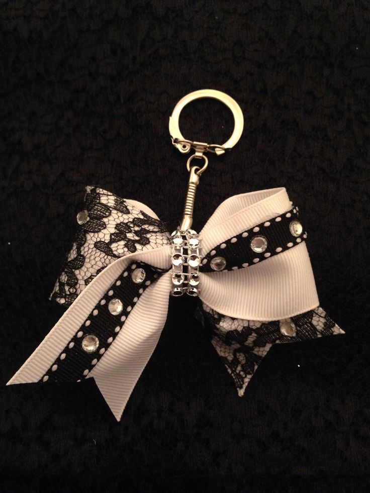 Cheer Bow Keychain to match Black & White Lace Cheer Bow