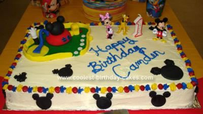 Homemade  Mickey Mouse Clubhouse Cake: I made Mickey Mouse cakes with the old Wilton MM cake pan 20+ years ago for birthdays for my 3 sons; however, who knows where the pan is now.  I would've