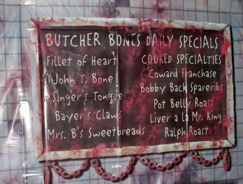 butcher shop bloody chalk board for halloween