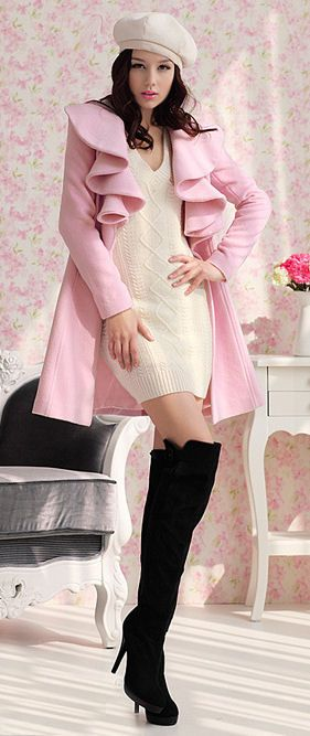 Charming Pink Ruffle Coat // Love the Boots ♥