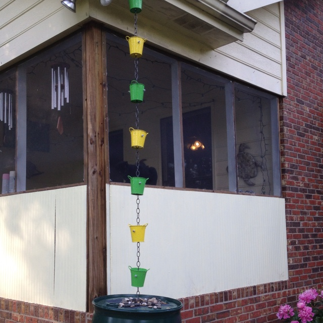 My new rain chain and rain barrel made by my excellent handyman husband <3