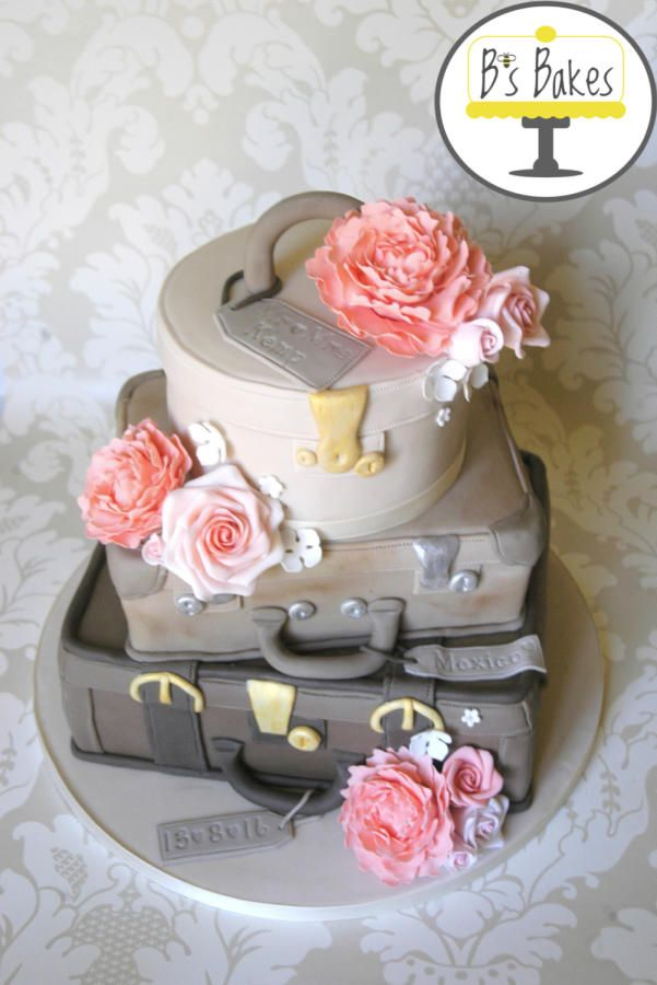 Suitcase wedding cake by B's Bakes  - http://cakesdecor.com/cakes/253120-suitcase-wedding-cake
