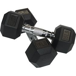 Valor Fitness 15 lb Black Rubber Hex Dumbbells (Set of 2) | Overstock.com Shopping - Great Deals on Valor Fitness Weights & Machines
