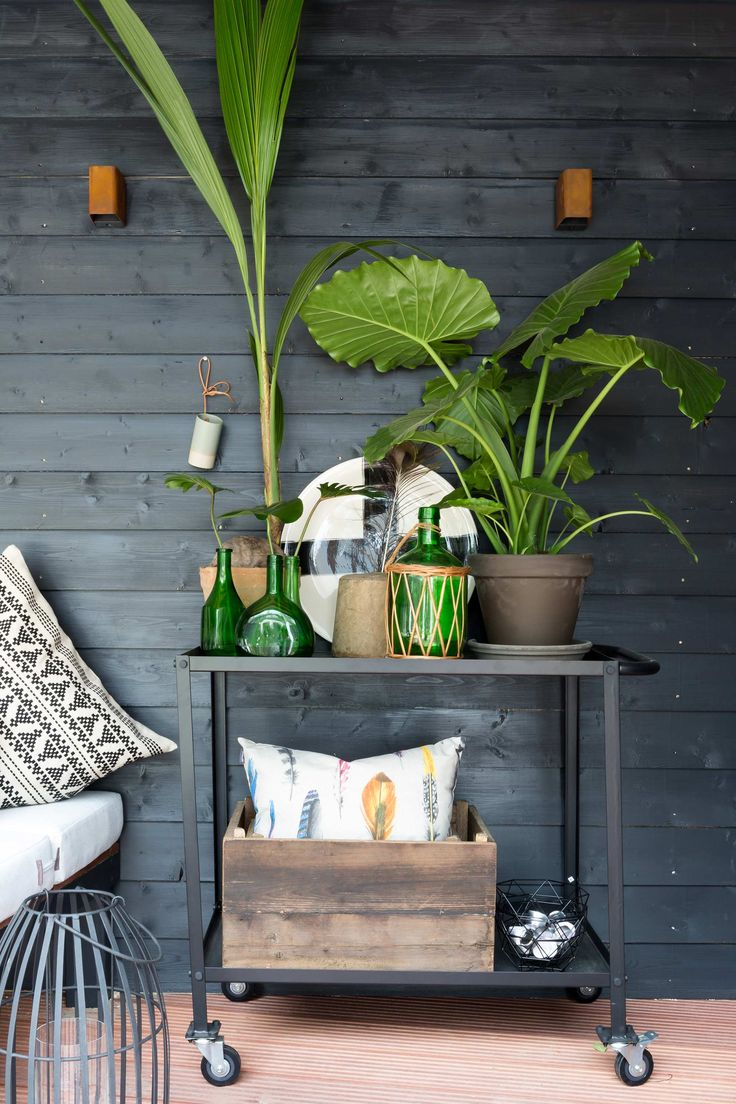 Trolley met planten bij Cristel en Sandro uit aflevering 12, seizoen 6 | Make-over door: Leonie Mooren | Fotografie Barbara Kieboom