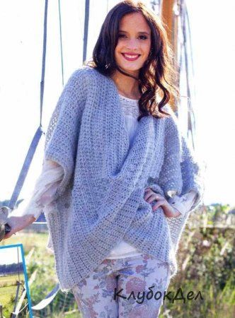 Пуловер-накидка с эффектно перекрученным передом