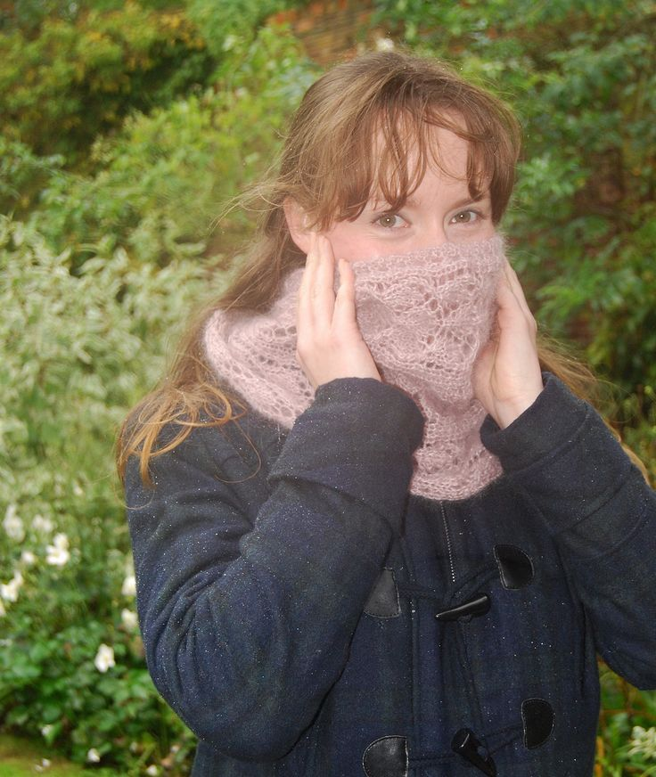 Shiver - snood with lacy panel and eyelet detail