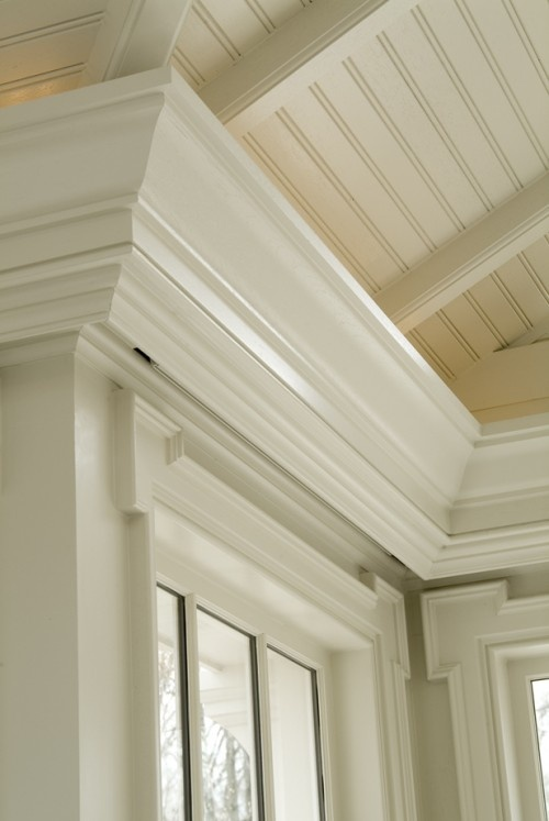 Screen porch conversion inspiration:  Trim, exposed rafters & beadboard ceiling