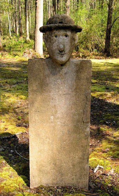 Early figural slave grave marker at Chicora Wood Plantation, South Carolina.    Photo by Brandon Coffey.