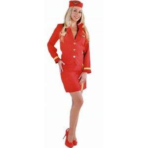 Déguisement Hôtesse de l'air Rouge Deluxe Femme, Magic by Freddy's, fêtes.
