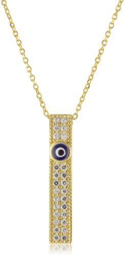 """Susan Hanover Designs """"Evil Eye"""" Gold Necklace with Cubic Zirconia Pave Bar Susan Hanover Designs. $115.00. Made in Turkey. Elongated bar with two rows of cubic zirconias and small blue enamel eye. Gold-plated over sterling silver. Total weight of necklace is 3.10 grams"""