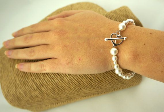 Pearl Bracelet  Bridal Jewellery Swarovski by Makewithlovecrafts
