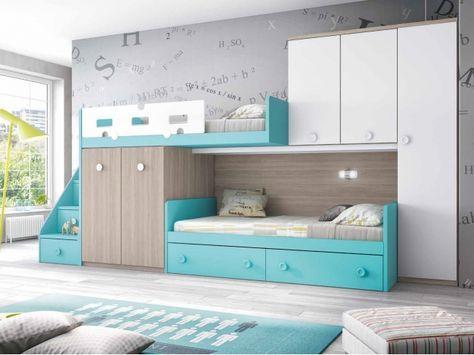 Lit superposé décalé personnalisable avec tiroir de rangement | Lit superposé, Chambre enfant ...