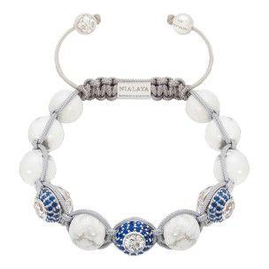 Nialaya bracelet white diamond, blue, gold and howlite: 375€