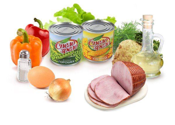 """Салат """"Мексиканский""""  Ингредиенты:   •100 г копченого мяса,  •80 г консервированной кукурузы Спело-Зрело,  •80 г консервированного зеленого горошка Спело-Зрело,  •1 луковица,  •30 г сладкого красного перца,  •1 яйцо, 40 г корня сельдерея,  •20 г оливкового масла,  •1 ч. ложка 3 %-ного уксуса,  •листья салата, зелень укропа,  •соль."""
