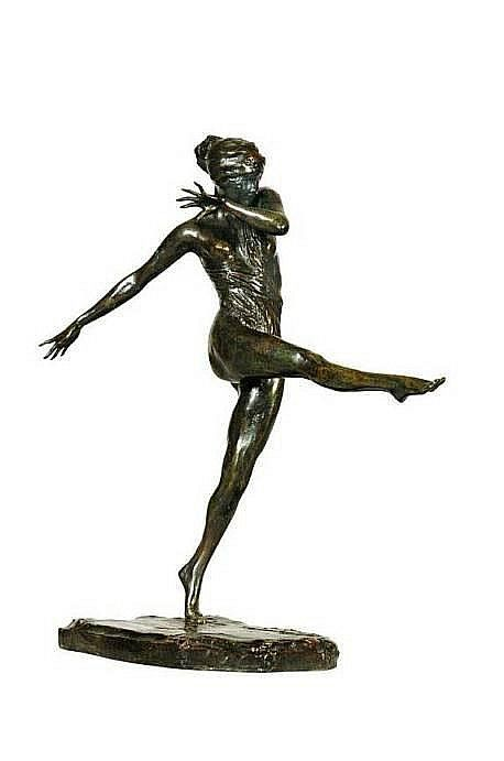 """Danseuse Isadora Duncan,"" Prince Paul Troubetzkoy, bronze, 13 3/4"" high, private collection."