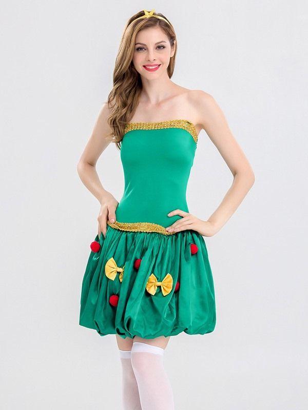 85499a8f1cc Vinfemass Green Tube Top Dress Christmas Costume