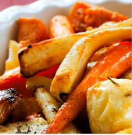 Maple Roasted Carrots and Parsnips -- Maple Grove Farms products use quality ingredients to bring out the great taste you've come to expect - maplegrove.com #carrots #parsnip #maplesyrup