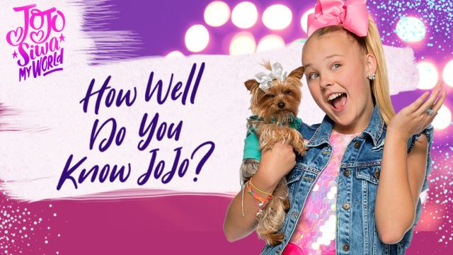 Think you know everything about JoJo Siwa? Take this quiz to find out! In Nickelodeon's newest free and fun online trivia quiz game, JoJo Siwa: My World: How Well Do You Know Jojo?, you get to answer questions about everyone's favorite dancing sensation, JoJo Siwa. Test your knowledge by answering questions like &quote;How old is she?&quote; and &quote;What is her dog's name?&quote;. Try to ace them all to score big. Play JoJo Siwa: My World: How Well Do You Know J...
