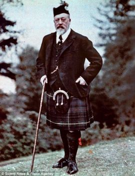 Taken: 1909  Discovered: 2009  This  could be the only color photograph of King Edward VII. It shows the King in Highland costume enjoying the autumn grouse season in Scotland. The picture is an early color photography process called autochrome, patented in France in 1903. It remained the principal color photo process until the advent of color film during the mid 1930s. The photo was taken by banker Lionel de Rothschild in 1909. The autochromes were forgotten in a cupboard in Exbury House.