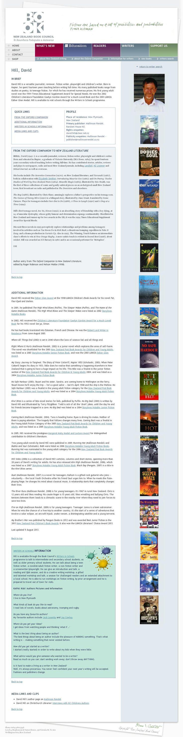 The website 'http://www.bookcouncil.org.nz/writers/hilldavid.html' courtesy of @Pinstamatic (http://pinstamatic.com)