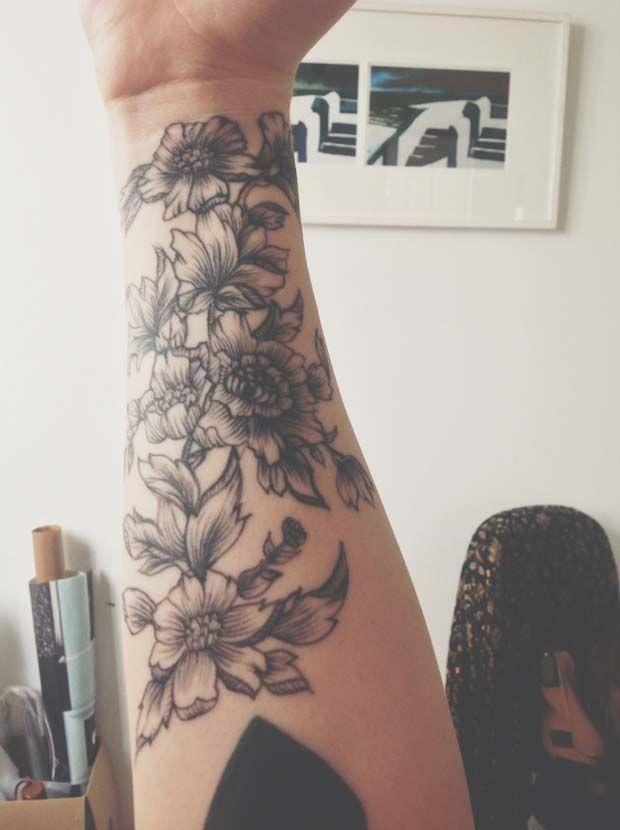694 besten floral tattoos bilder auf pinterest tattoo ideen lotusblume und mandala t towierung. Black Bedroom Furniture Sets. Home Design Ideas