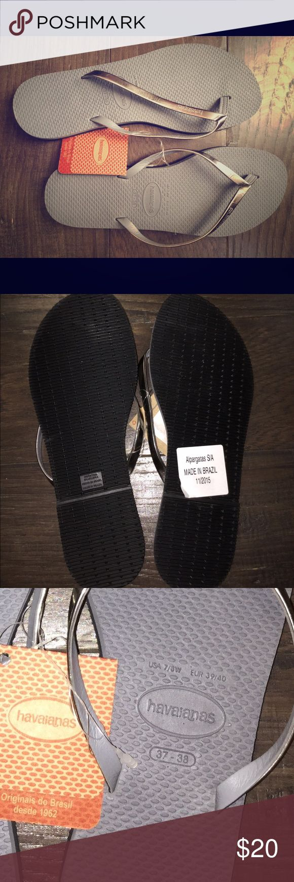 Havaianas metallic flip flops Slim strap, metallic silver havaianas with tags. Never worn, size 7/8. Havaianas Shoes Sandals