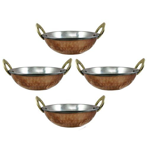 Stainless Steel Hammered Copper Serveware Accessories Karahi Pan Bowls for Indian Food, Set of 4, Diameter 5.2 Inch - http://www.specialdaysgift.com/stainless-steel-hammered-copper-serveware-accessories-karahi-pan-bowls-for-indian-food-set-of-4-diameter-5-2-inch/