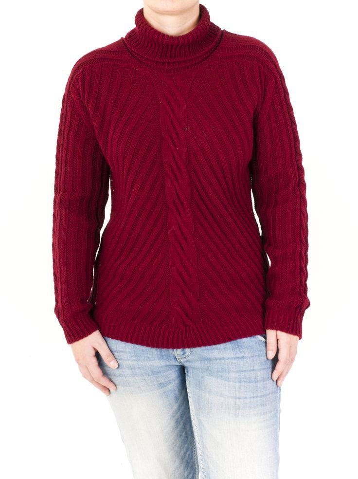 Jersey de punto para mujer con cuello cisne y trenza en parte central y mangas. 5 colores a tu elección para la temporada de invierno. No lo dejes escapar!