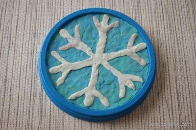 śnieżynka obrazek z plasteliny