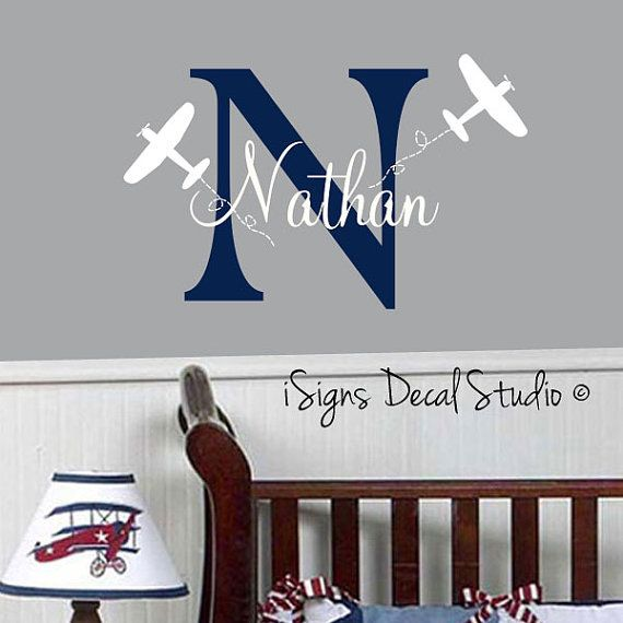 AIRPLANE Personalized Wall Decal Kids Room by iSignsDecalStudio, $28.00