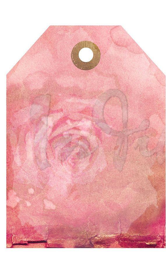 FADED Ballet PINK Rose Gift Tag Vintage Digital Download