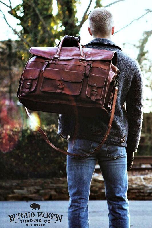 Tough, rugged, leather weekend travel bag in camel. Weekender | Travel | Adventure