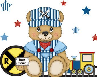 TEDDY BEAR DECAL Wall Mural Train Conductor Transportation Nursery Baby Boy Childrens Bedroom Kids Railroad Room Caboose Stickers Art Decor
