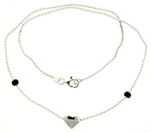 """Sterling Silver Necklace with a Heart Slide 17"""" Sabrina Silver. $35.08"""