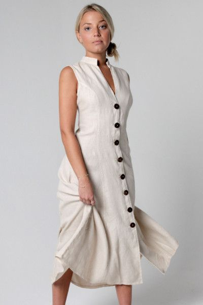 547156dd7af 100% Linen Dress with Coconut Buttons and Moa Collar in White v roce ...
