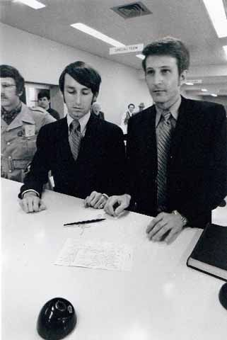 How Much Courage Do You Think This Took?  Jack Baker and James Michael McConnell apply for a marriage license in Minneapolis, Minnesota, 18 May 1970.  1970, mind you.  Photo: Minnesota Historical Society.
