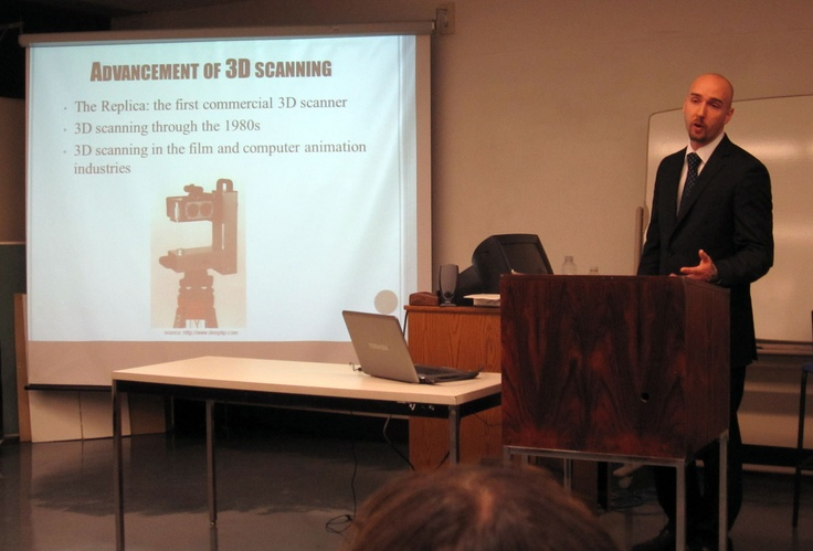 Michael Groenendyk talking about the evolution of 3D scanning, Lunch & Learn, May 8, 2012