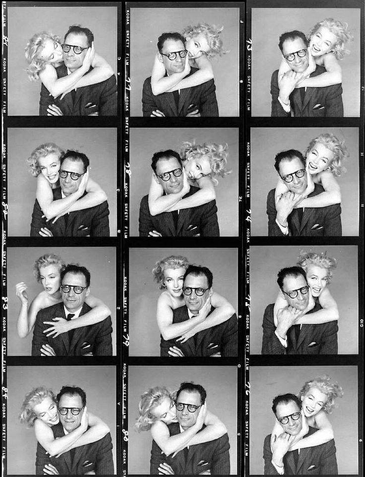 Marilyn Monroe and Arthur Miller. Contact sheet photos by Richard Avedon, 1957.