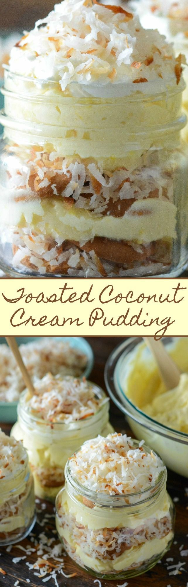 Toasted Coconut Cream Pudding: a cross between coconut cream pie & banana pudding, with layers of creamy coconut pudding, vanilla wafers & toasted coconut!