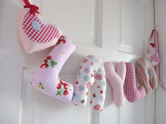 Layla - Our Unique padded baby names are perfect for hanging on the wall, cot or bedroom door. You can have any name made in this combination of fabrics from our ETSY shop. Ideal as new baby, baby shower, christening or birthday gifts. Baby girl nursery decor with applique hearts.