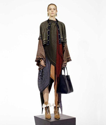 LOEWE Anagram Silk Pleated Skirt orange/multicolour