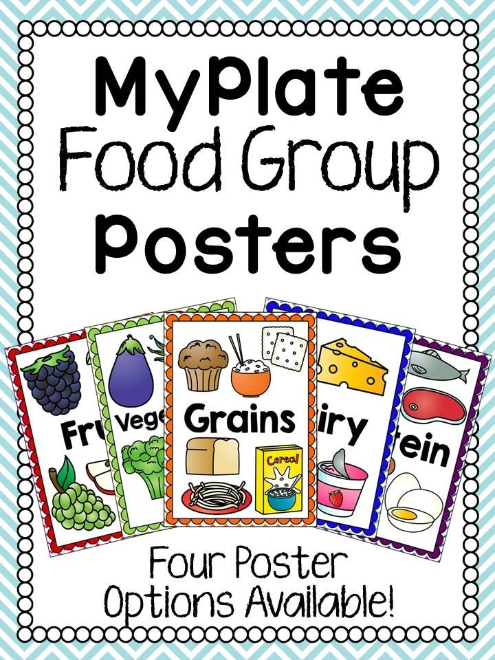 Set of food group posters to decorate your classroom or use during a MyPlate unit. Each poster has the name and clip art of each food group (Fruit, Vegetables, Gains, Protein, Dairy). The border colors for each poster match the color for the group on the MyPlate diagram.