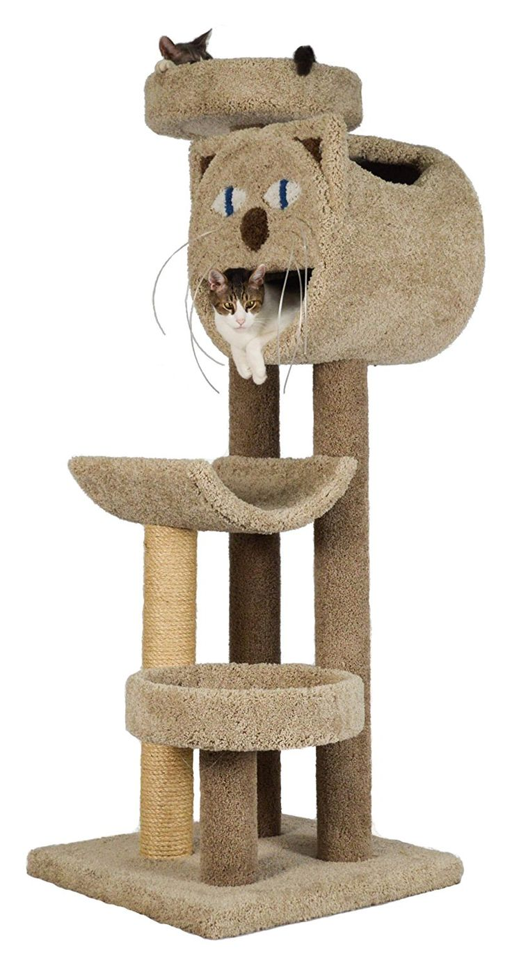 "♥ Cool Cat Stuff ♥  Cat Trees... Carpet Covered Works Of Art?   Molly and Friends ""Whisker's Way"" Premium Handmade 4-Tier Cat Tree with Sisal"