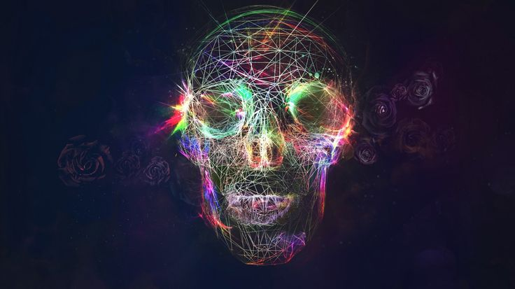 1366x768 Wallpaper skull, abstract, bright, background